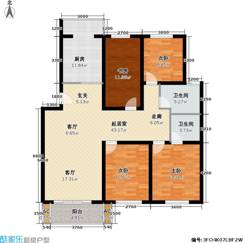河滨雅苑户型4室2卫1厨
