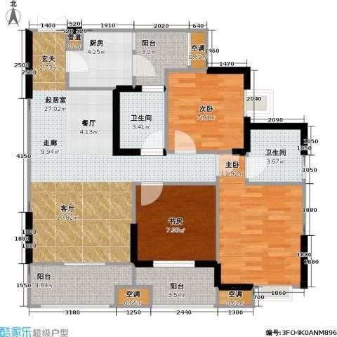 康德・城市风云 城市风云社区3室0厅2卫1厨88.00㎡户型图