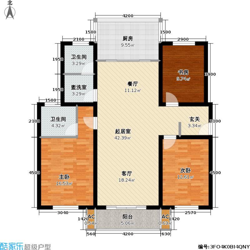 河滨雅苑户型3室2卫1厨