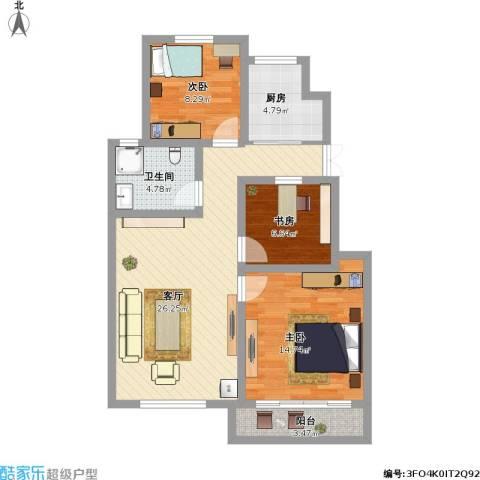 长城珑湾3室1厅1卫1厨100.00㎡户型图