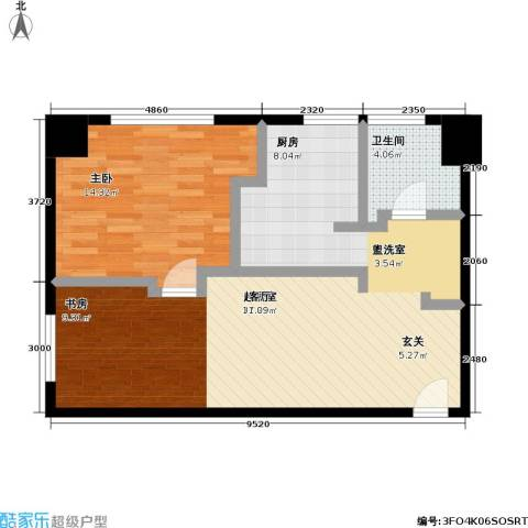 天安.恒隆花园1室0厅1卫0厨64.00㎡户型图