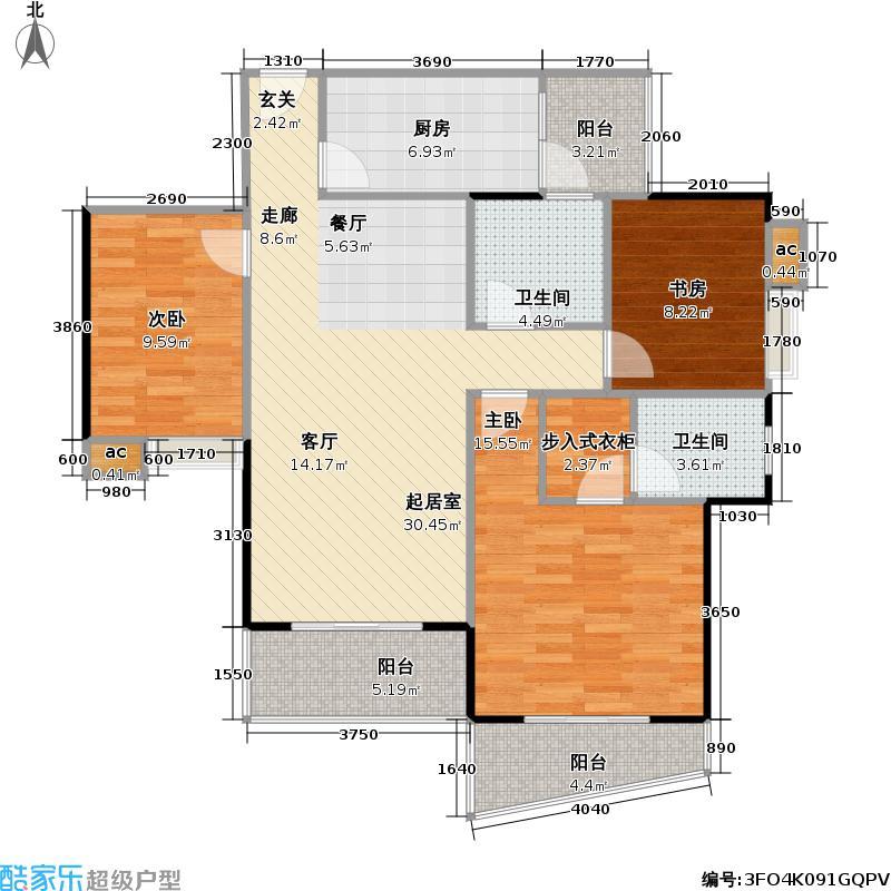 世纪庭苑户型3室2卫1厨