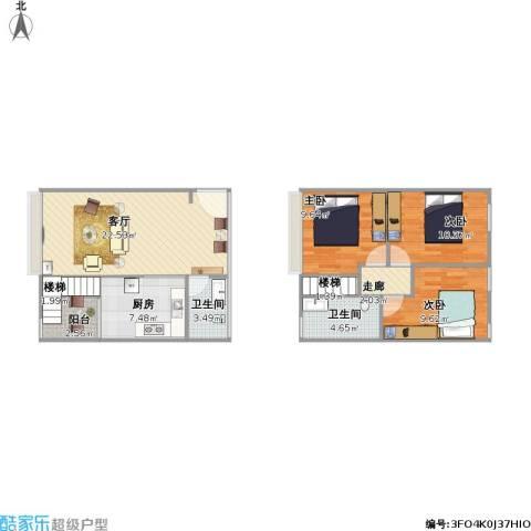 优跃城3室1厅2卫1厨103.00㎡户型图