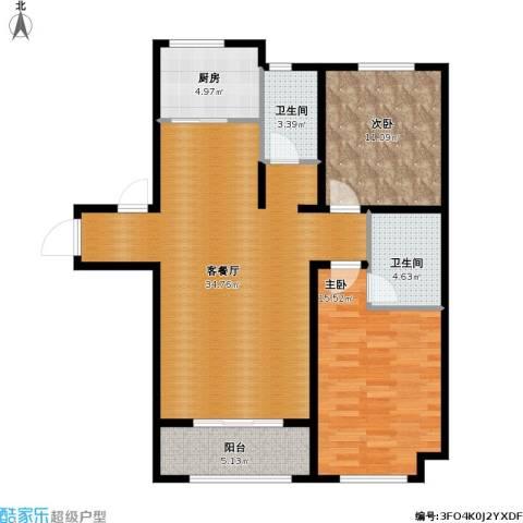 汇君城2室1厅2卫1厨111.00㎡户型图