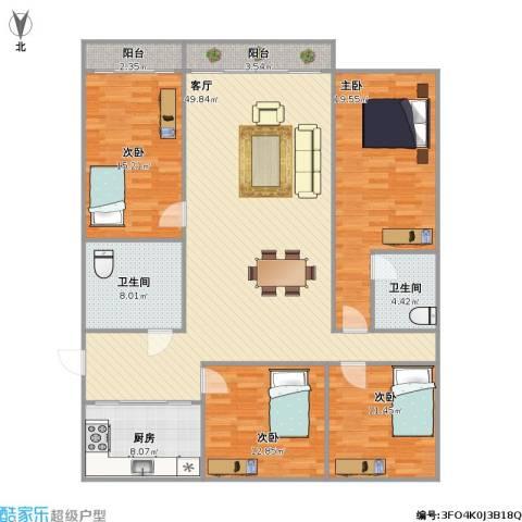 水天福苑4室1厅2卫1厨181.00㎡户型图