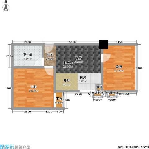 江州世纪英皇2室0厅1卫0厨55.00㎡户型图