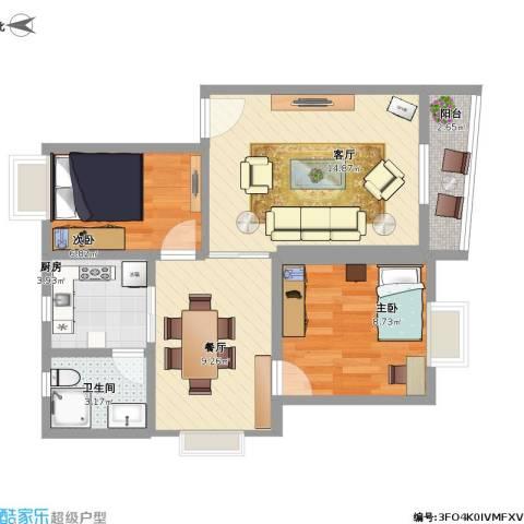 广州奥林匹克花园2室2厅1卫1厨72.00㎡户型图