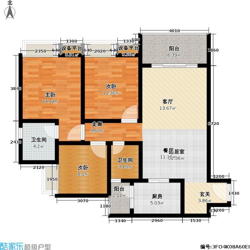 山水・蓝庭109.20㎡山水蓝庭一期标准层C户型