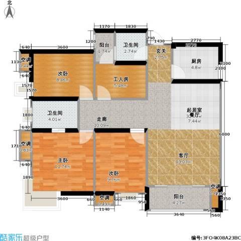 祥御・巴山二期 祥御巴山三期3室0厅2卫1厨124.00㎡户型图