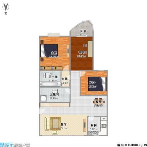 金都华庭2室1厅2卫1厨161.00㎡户型图