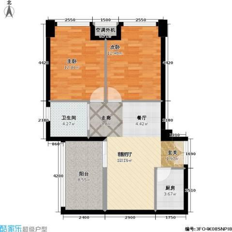 禧福汇2室1厅1卫1厨84.00㎡户型图