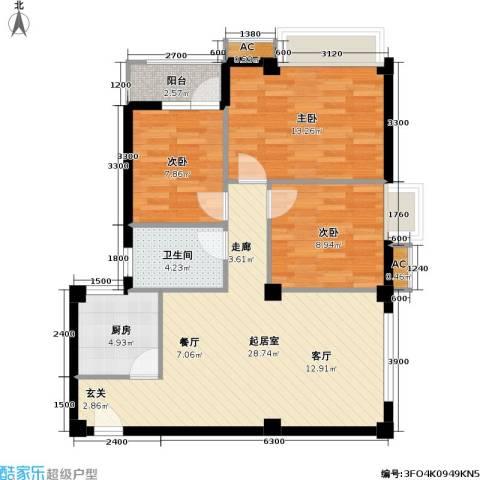 开来・东方华庭3室0厅1卫1厨86.00㎡户型图