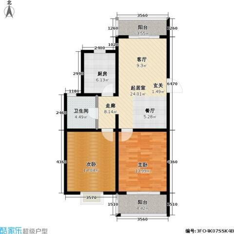 洞庭明月湾2室0厅1卫1厨80.00㎡户型图