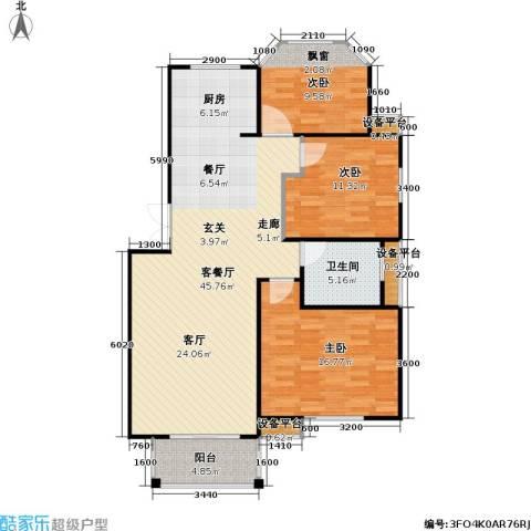 天人佳园3室1厅1卫0厨106.00㎡户型图