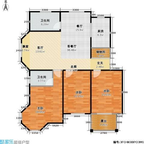 天人佳园3室1厅2卫1厨107.50㎡户型图