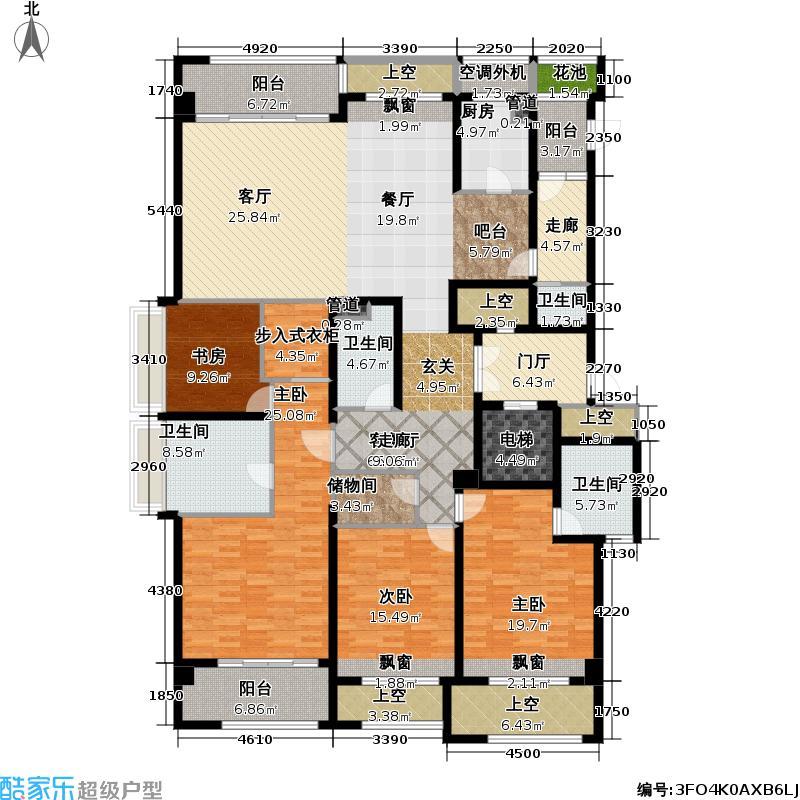 世茂钱塘帝景255.00㎡3、4#楼奇数层户型