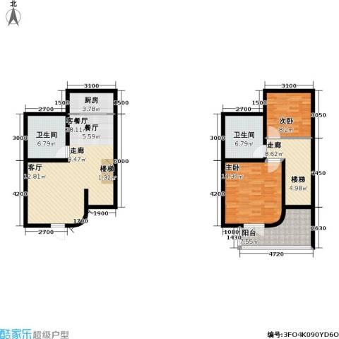 温泉国际2室1厅2卫1厨96.00㎡户型图