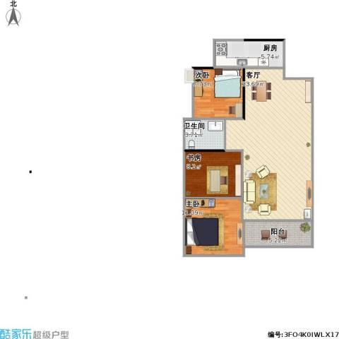 湘域中央花园3室1厅1卫1厨100.00㎡户型图