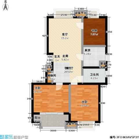 金基月亮湾3室1厅1卫1厨114.00㎡户型图
