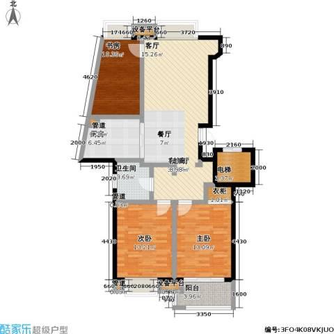 金基月亮湾3室1厅1卫1厨129.00㎡户型图