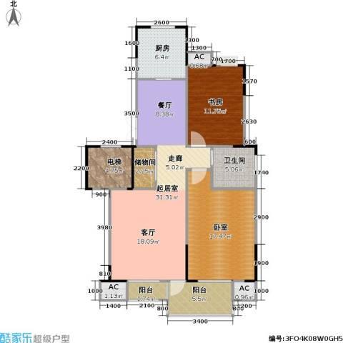 奥体新城海棠园1室0厅1卫1厨94.00㎡户型图