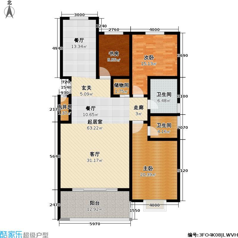 福麟海景丽园户型3室2卫