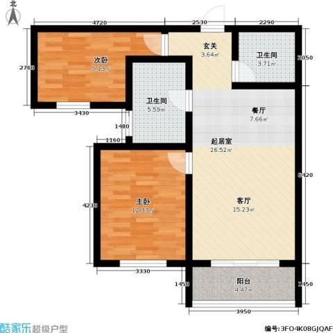领秀城2室0厅2卫0厨95.00㎡户型图