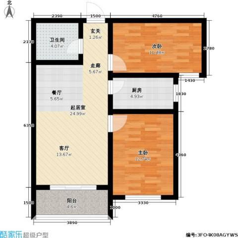 领秀城2室0厅1卫1厨91.00㎡户型图