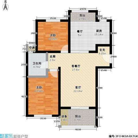 景港名人苑2室1厅1卫1厨90.00㎡户型图