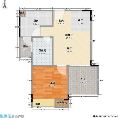 海兰云天假日风景1室1厅1卫1厨64.00㎡户型图