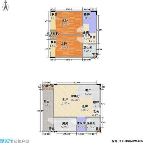 海兰云天假日风景2室1厅2卫1厨103.00㎡户型图