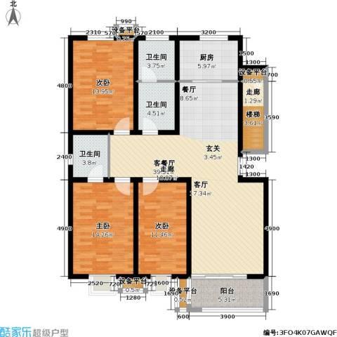 神奇庭院3室1厅3卫1厨156.00㎡户型图