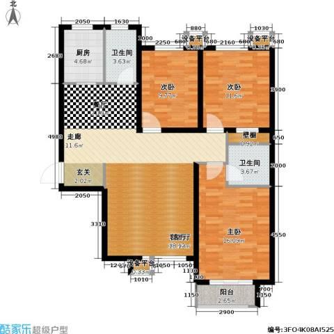 锦城3室1厅2卫1厨130.00㎡户型图