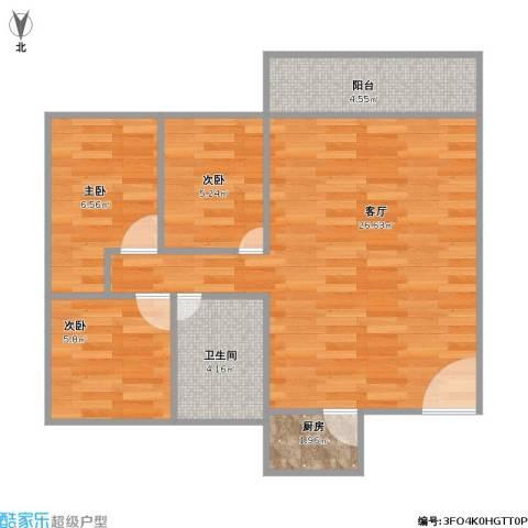 光辉大厦2单元3室1厅1卫1厨75.00㎡户型图