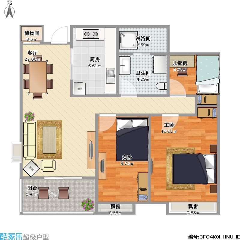 89.11平方米,三室两厅