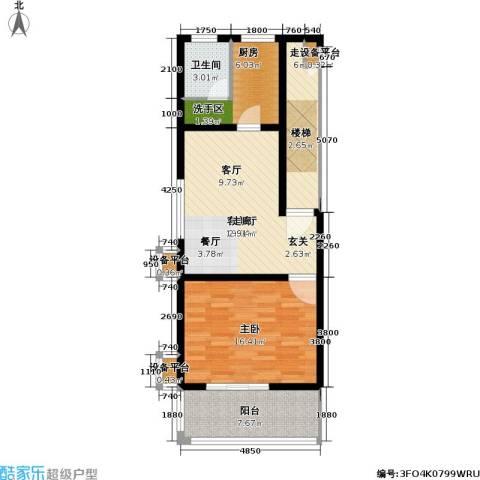 神奇庭院1室1厅1卫1厨87.00㎡户型图