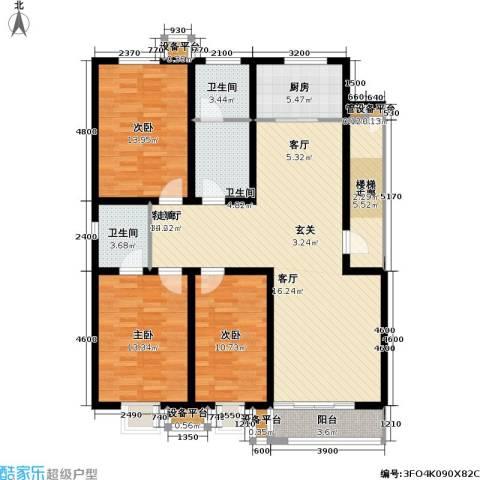 神奇庭院3室1厅3卫1厨131.00㎡户型图