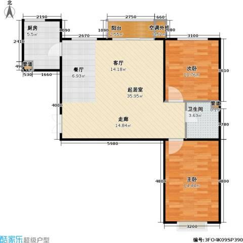 东方夏威夷2室0厅1卫1厨99.00㎡户型图