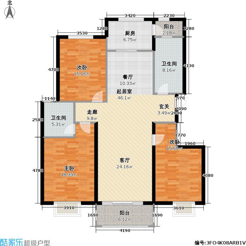 紫荆家园户型3室2卫1厨