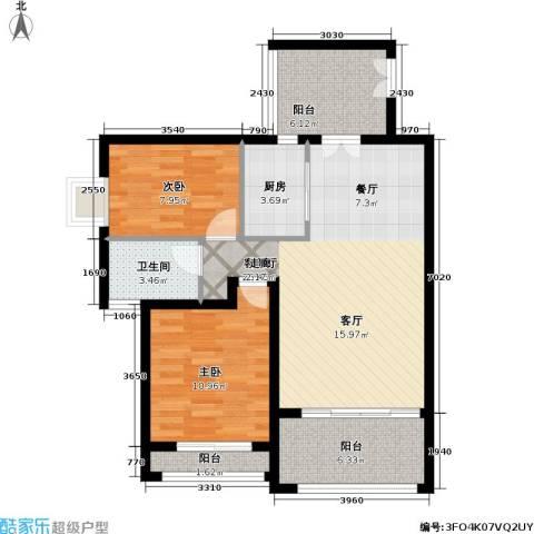 爱加丽都(一期)2室1厅1卫1厨76.00㎡户型图