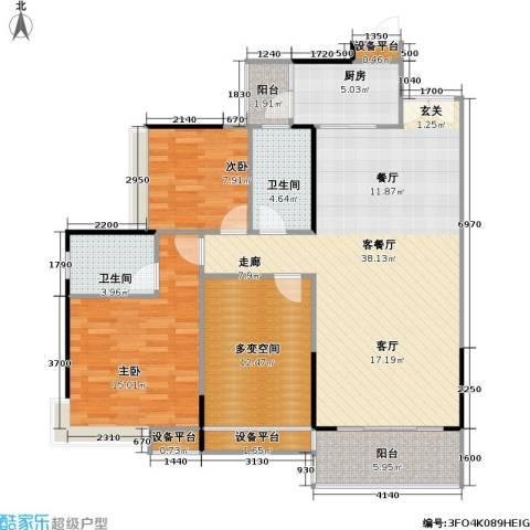 尚城国际2室1厅2卫1厨107.00㎡户型图
