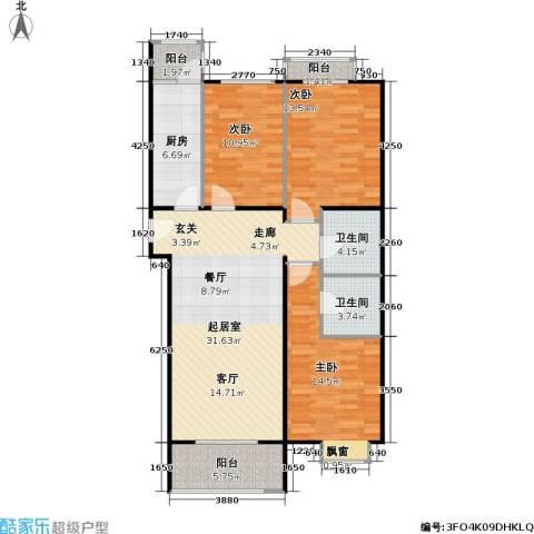 潮白人家3室0厅2卫1厨101.00㎡户型图
