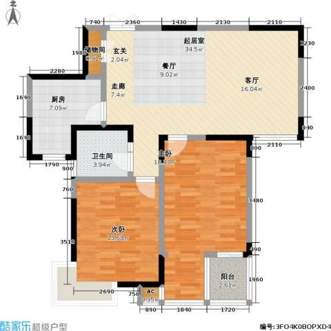 银城西堤国际2室0厅1卫1厨93.00㎡户型图