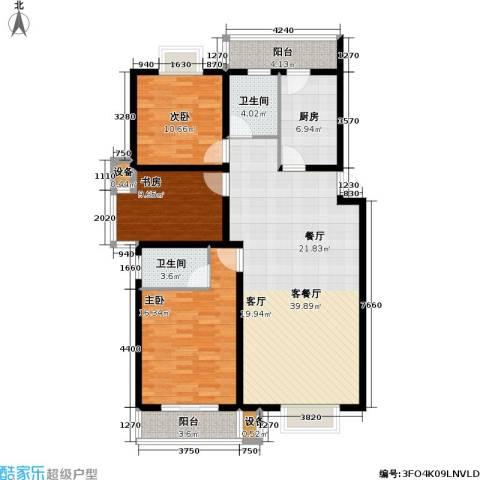 湖西庭园3室1厅2卫1厨112.00㎡户型图