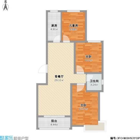 星湖湾3室1厅1卫1厨103.00㎡户型图