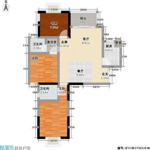 万和源居3室1厅2卫1厨85.00㎡户型图