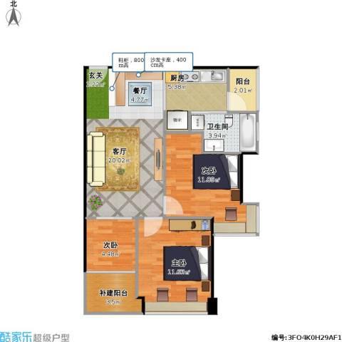 福安雅园3室1厅1卫1厨83.00㎡户型图