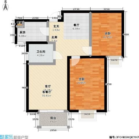 万和源居2室1厅1卫1厨85.00㎡户型图