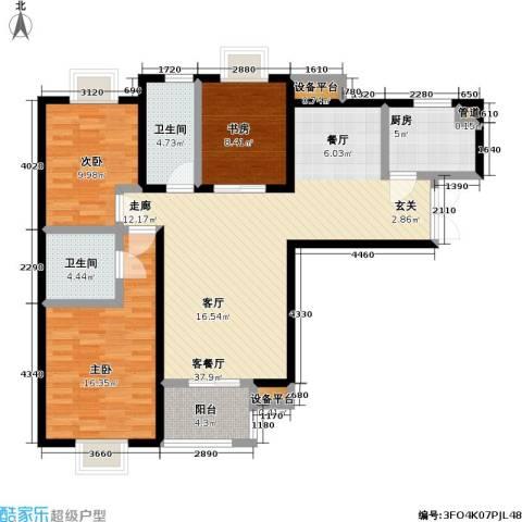 万和源居3室1厅2卫1厨108.00㎡户型图