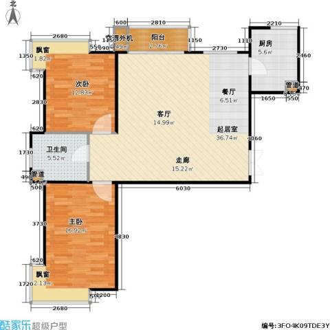 东方夏威夷2室0厅1卫1厨108.00㎡户型图